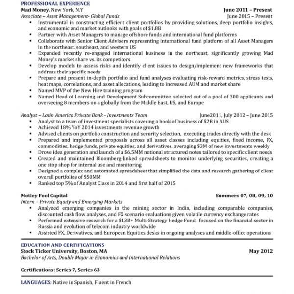 Asset Management Resume Sam ...