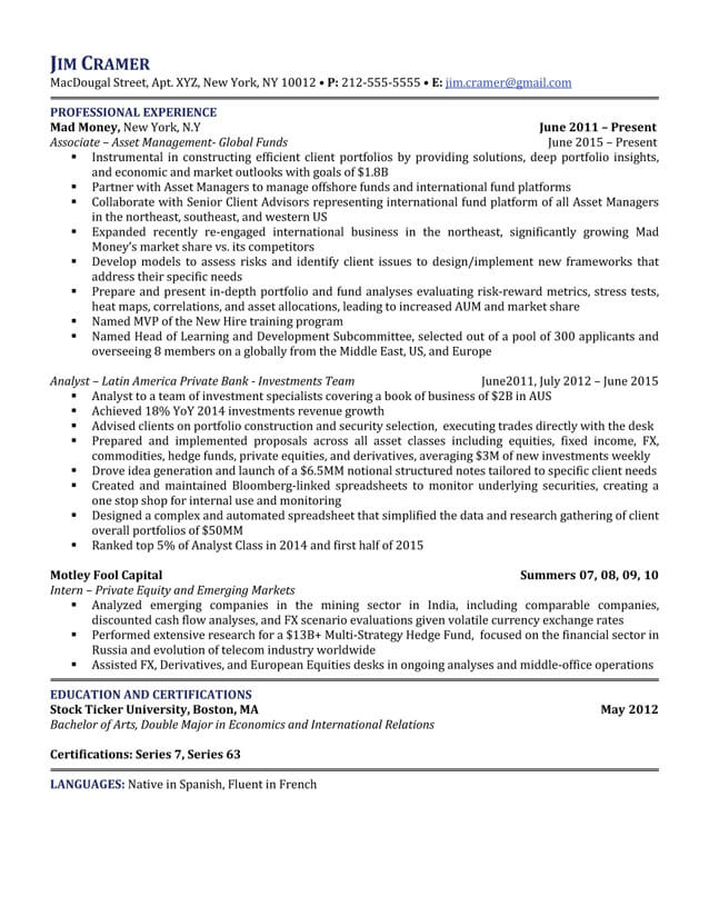 resume samples asset management hedge resume samples