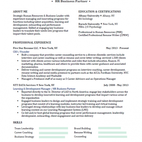 Five Star Resume Example 3