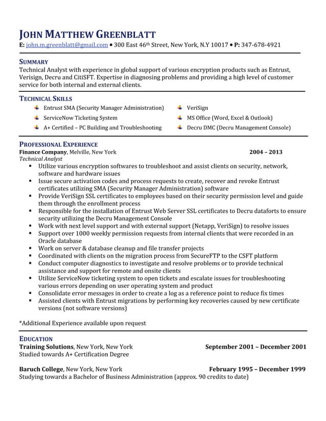 technical analyst resume technical analyst resume samples